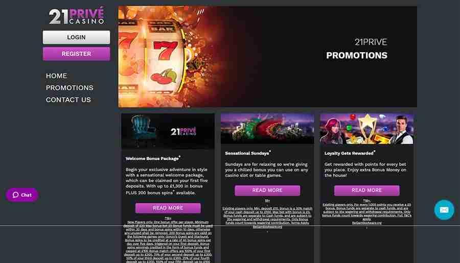 21Prive Casino promotions