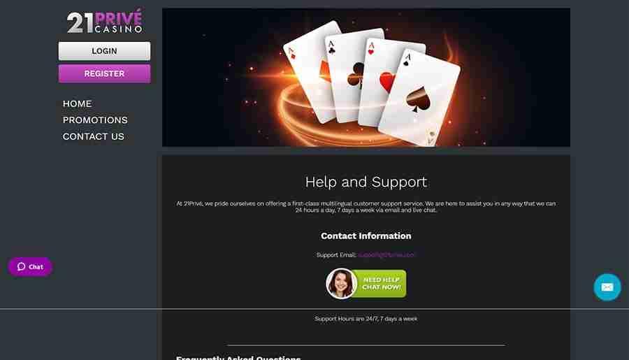 21Prive Casino support