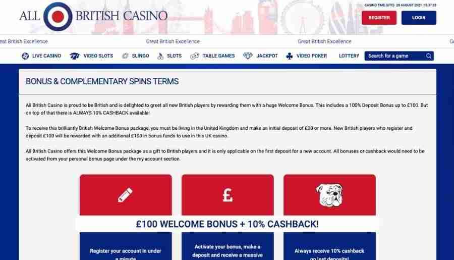 all british casino - bonuses