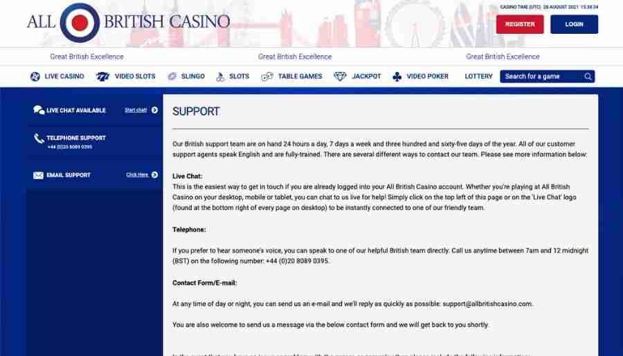 all british casino - customer support