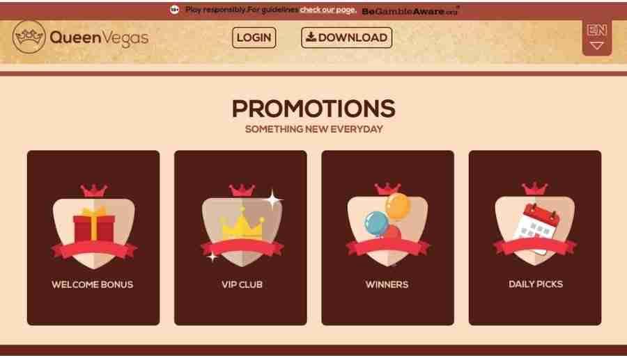 queen vegas - bonuses