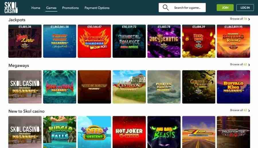 skol casino - games