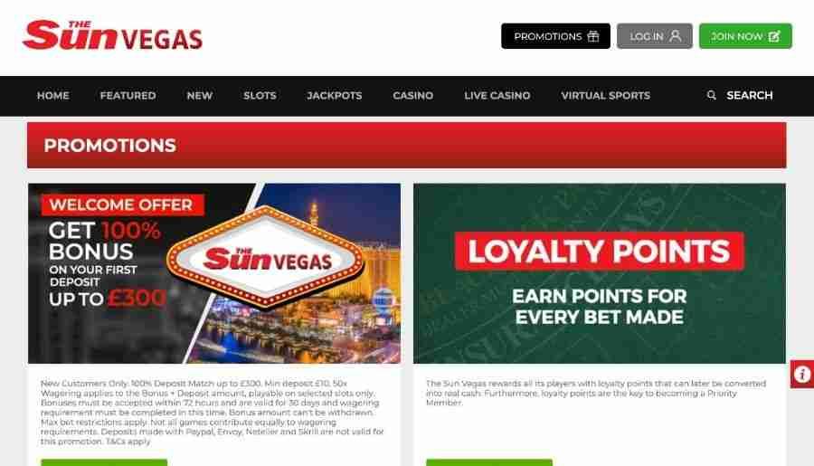 sun vegas casino - bonuses