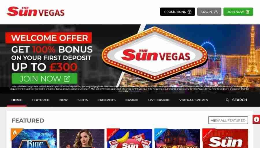 sun vegas casino - homepage