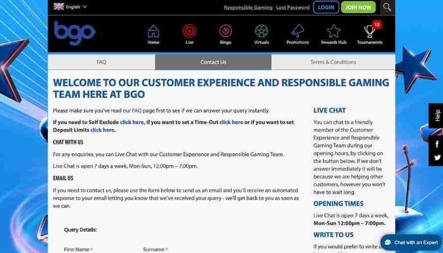 bgo casino - customer support