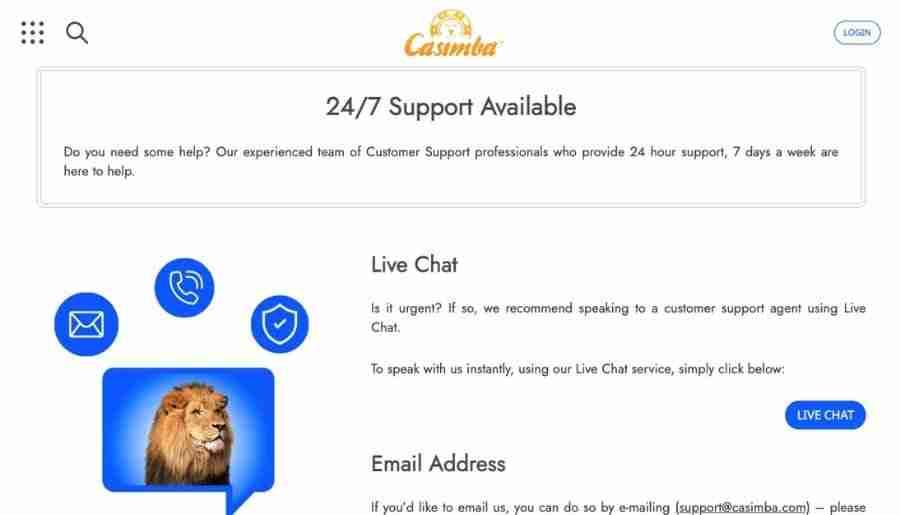 casimba casino - customer support