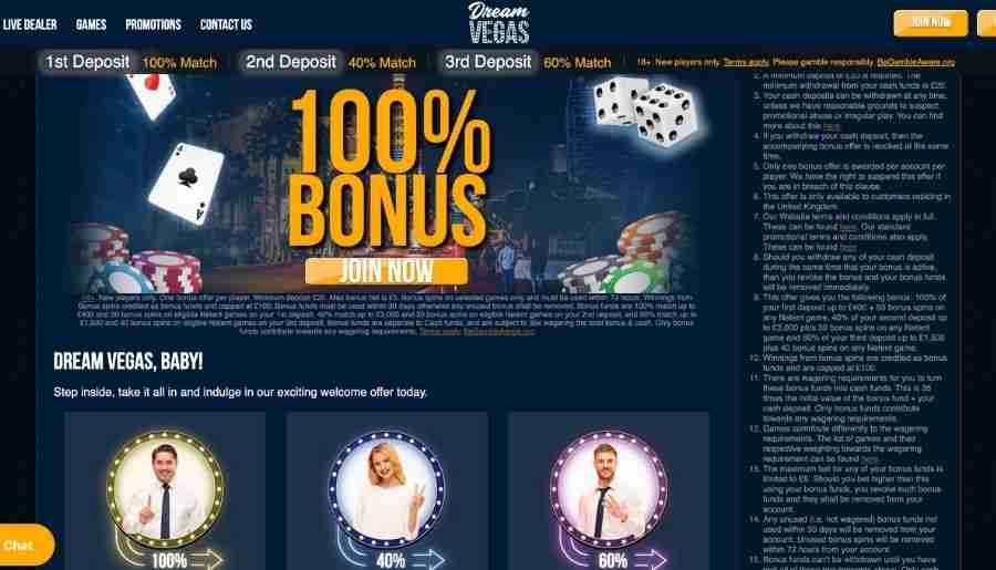 dream vegas casino - bonuses