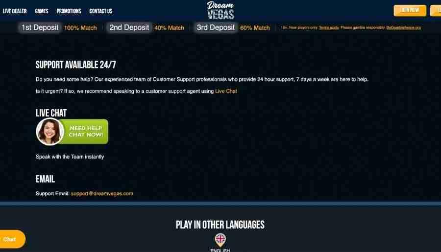 dream vegas casino - customer support