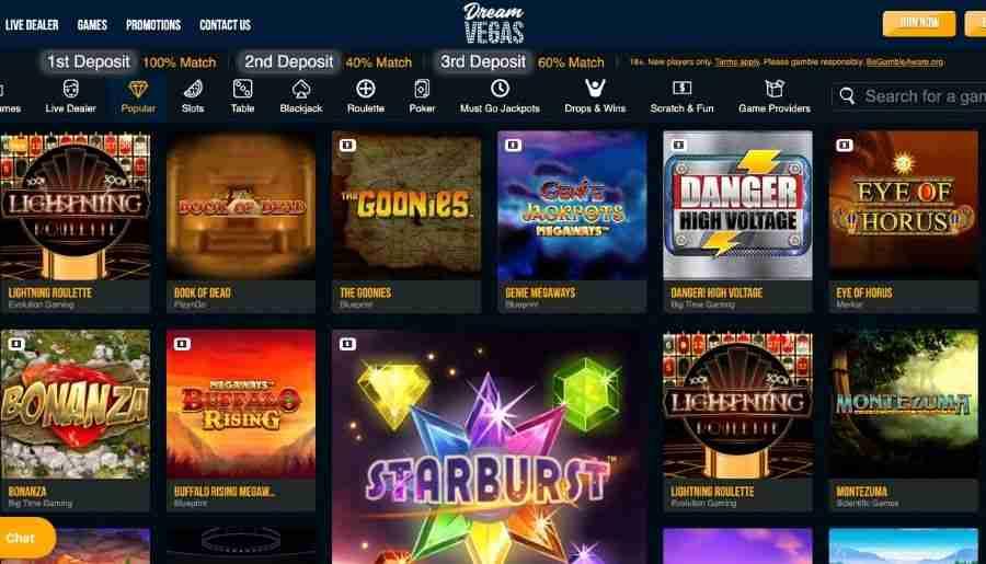 dream vegas casino - games