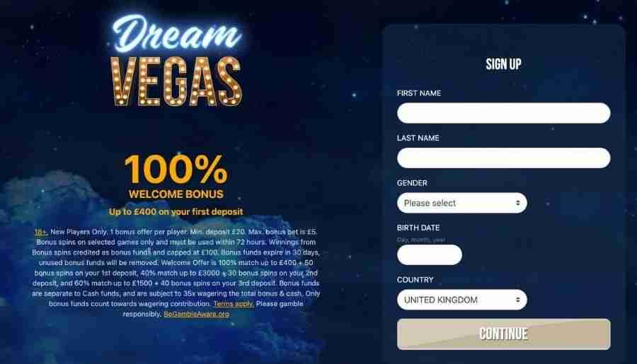 dream vegas casino - registration