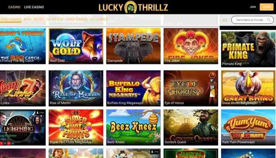 lucky thrillz casino - games