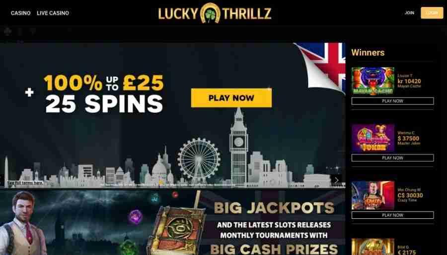 lucky thrillz casino - homepage
