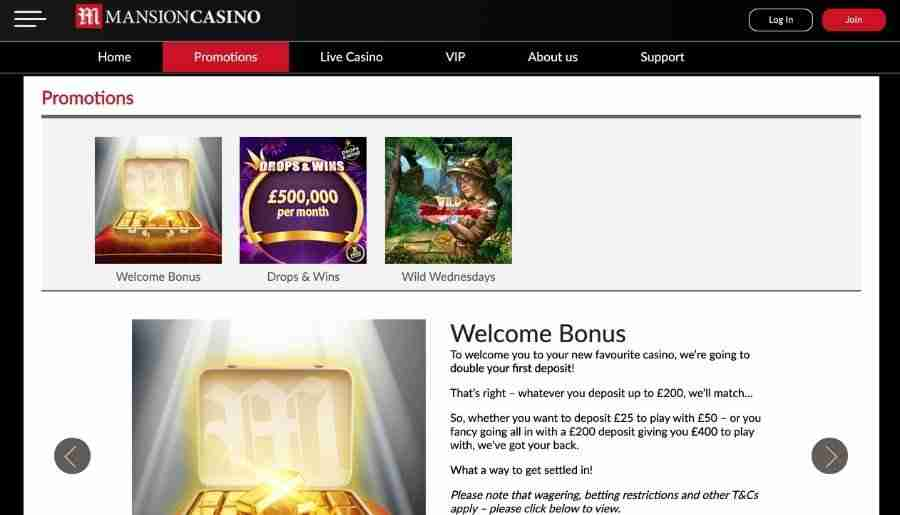 mansion casino - bonuses