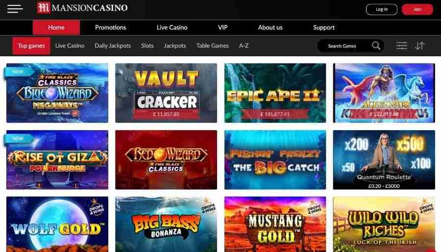 mansion casino - games