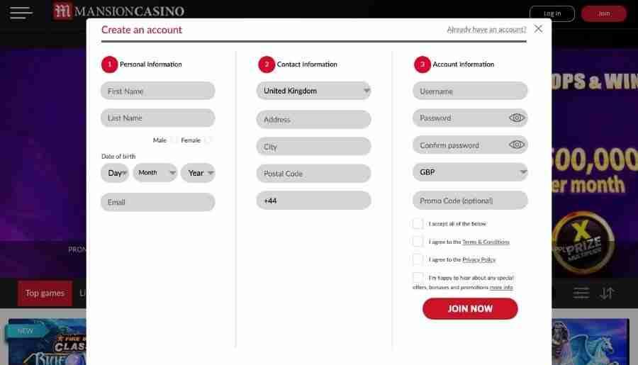 mansion casino - registration