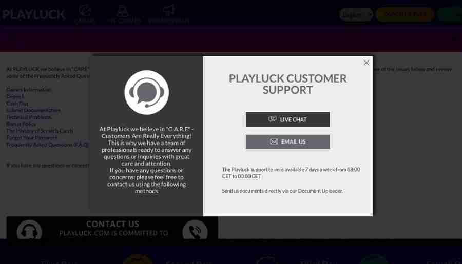 playluck casino - customer support