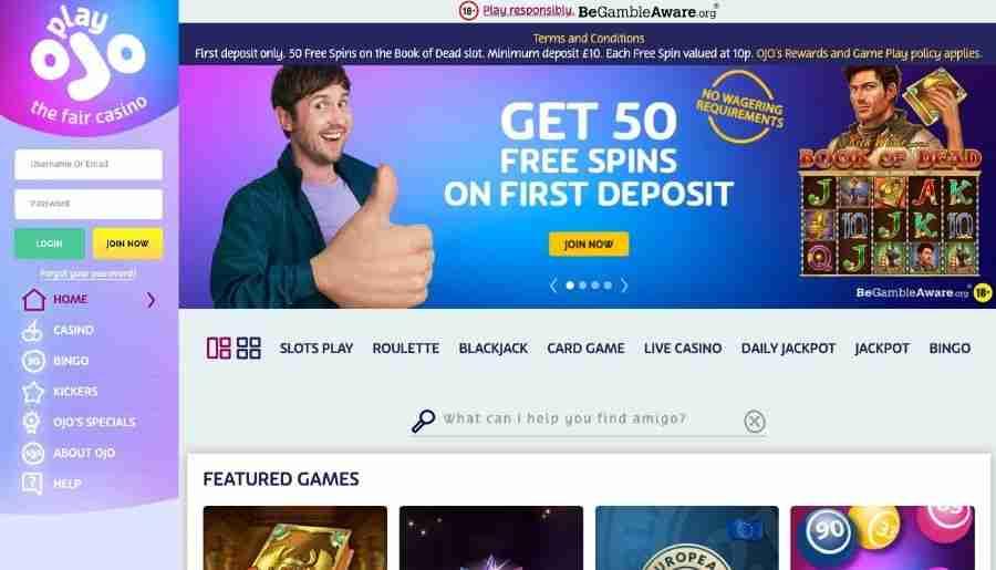 playojo casino - homepage