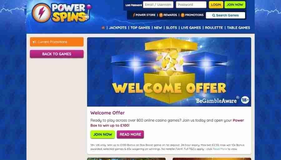 power spins casino - bonuses