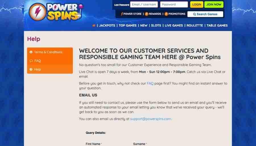 power spins casino - customer support