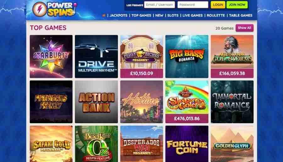 power spins casino - games
