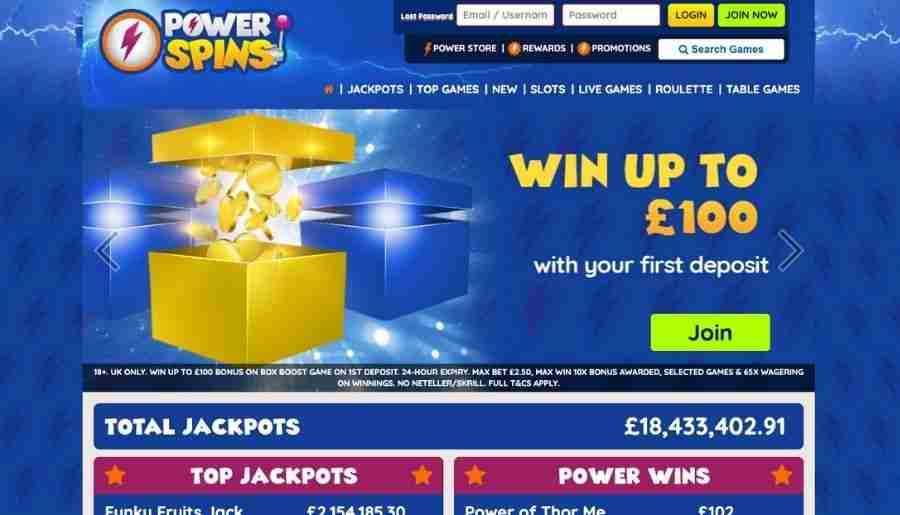 power spins casino - homepage