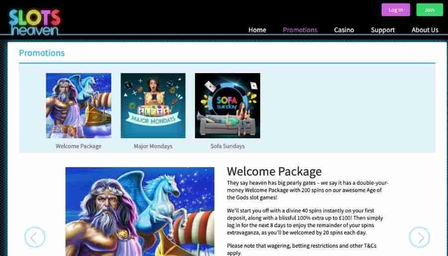 slots heaven casino - bonuses