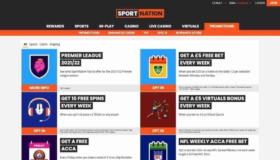sportnation casino - bonuses