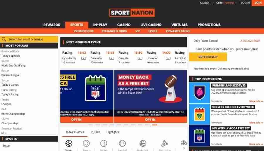sportnation casino - homepage