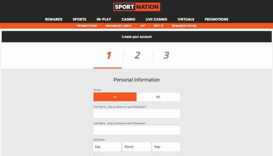 sportnation casino - registration