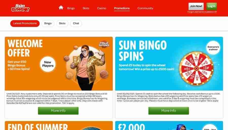 sun bingo - bonuses