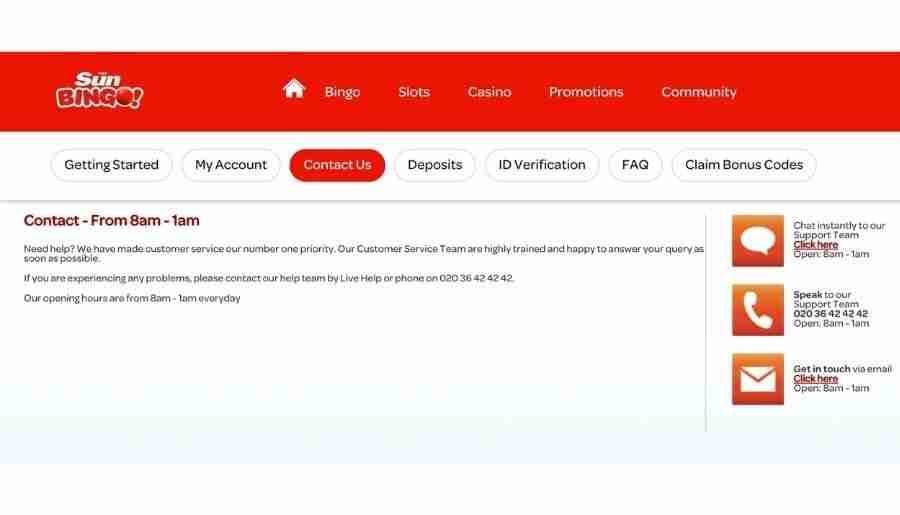 sun bingo - customer support