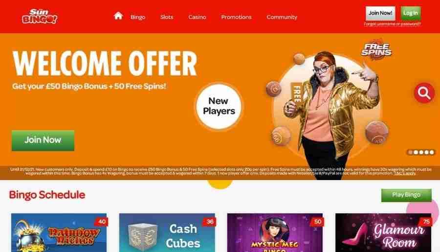 sun bingo - homepage