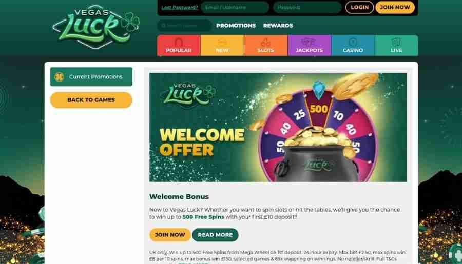 vegas luck casino - bonuses