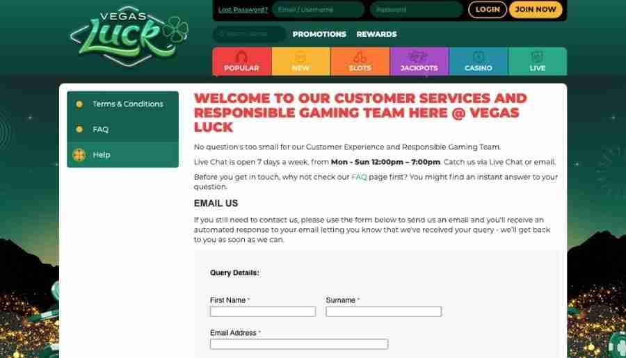 vegas luck casino - customer support