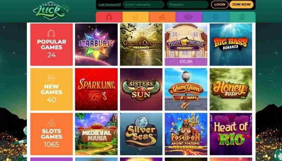 vegas luck casino - games