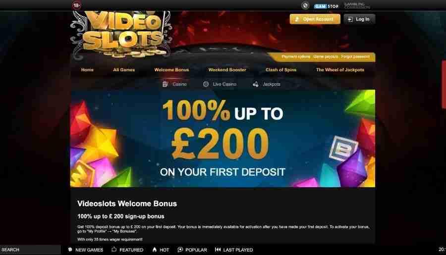 videoslots casino - bonuses
