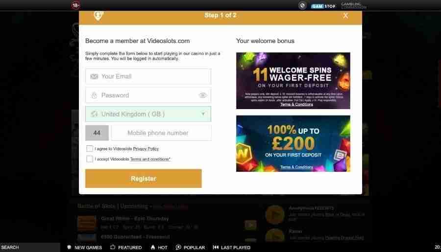 videoslots casino - registration