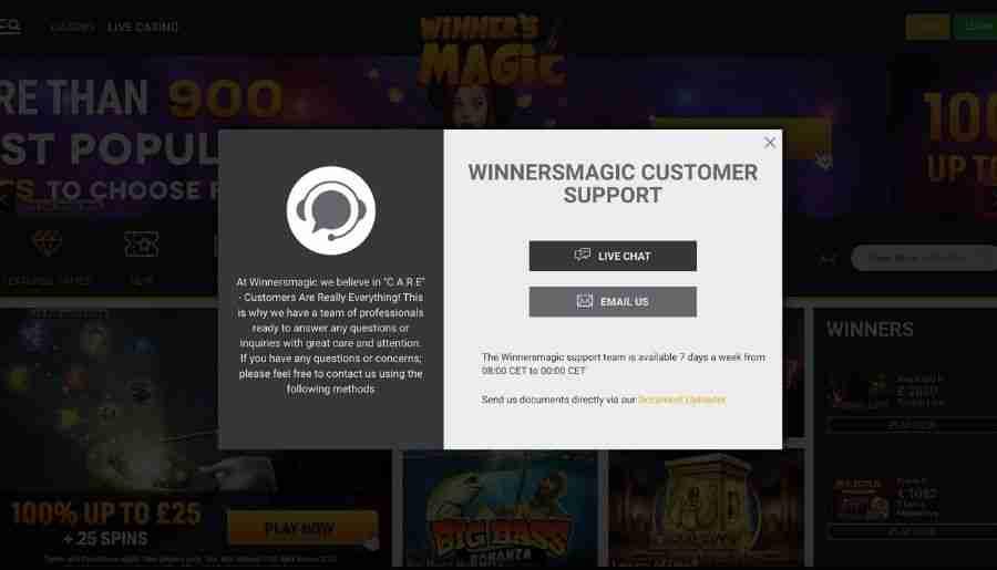winners magic casino - customer support