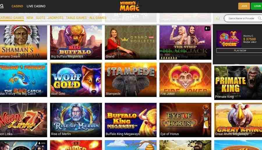 winners magic casino - games
