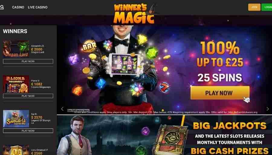 winners magic casino - homepage